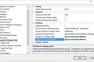 Rename Visual Studio Window Title